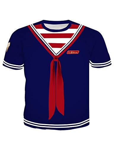 Camiseta Stranger Things Niño, Unisex Camiseta Stranger Things Hombre Mujer Manga Corta T-Shirt Disfraz Uniforme Impresión 3D T Shirt Niña Regalo Camisa Verano Camisetas y Tops (A,S)