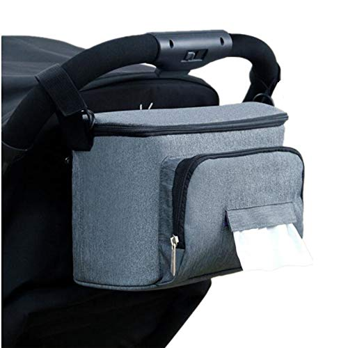 DishyKooker Cesta de almacenamiento de cochecito de bebé Cesta de gran capacidad piezas para carrito de bebé sin correa de hombro gris