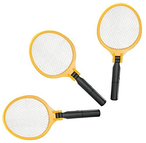infactory Insektenvernichter: 3er-Set Elektrische Fliegenklatsche mit klappbarem Griff (Mücken-Vernichter)