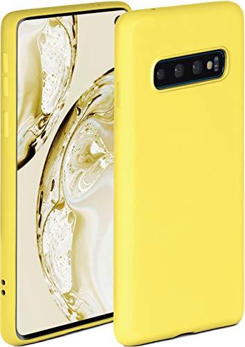 ONEFLOW Soft Hülle kompatibel mit Samsung Galaxy S10 Hülle aus Silikon, erhöhte Kante für Displayschutz, zweilagig, weiche Handyhülle - matt Gelb