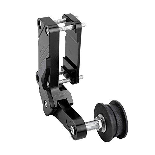 Dispositivo fijo de cadena, ajustador de motocicleta, rodillo tensor de cadena, herramienta universal de aleación de aluminio CNC(Negro)