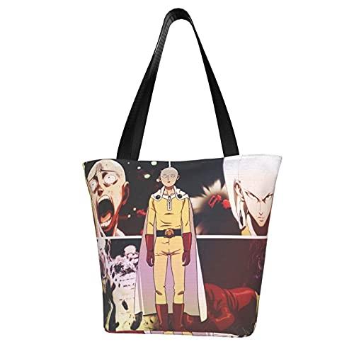 Anime One PUNCH-MAN - Bolsa de lona para mujer, gran capacidad, un hombro, impresa, reutilizable, para ocio, oficina, escuela, compras