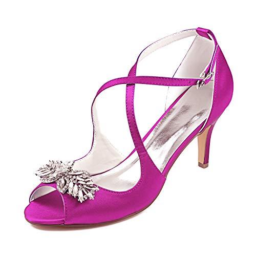 Emily Bridal Zapatos de Boda Cross Pearl Rhinestone Slip-on Sandalias con tacón...