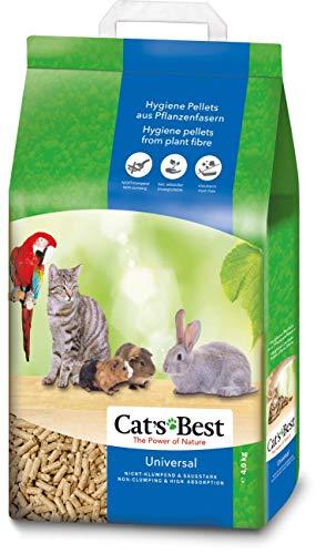 Cat's Best Arena para Gatos Universal 7L (4 kg). Arena para Pájaros, Conejos Biodegradable Sin Polvo. Lecho para Gatos Ecológico de Fibra Vegetal.