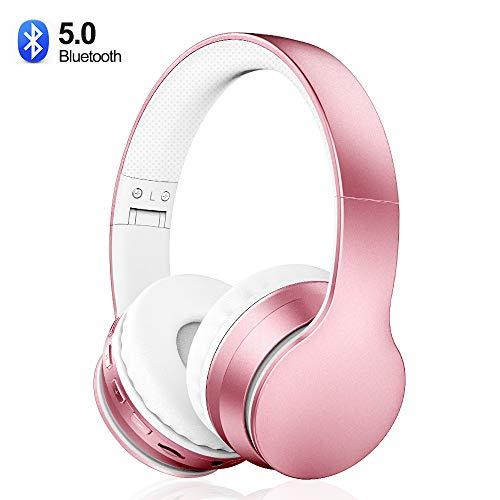 Cuffie Bluetooth 5.0 Senza Fili, Sunvito Pieghevole Auricolari con Mic, Lettore MP3, Radio FM, Wireless e Cuffie Cablate, Cuffie Over Ear (Rosa)