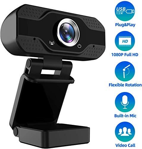 GAMRY Webcam con Microfono, 1080p Full HD USB Camera per Videochiamate e Registrazione, Insegnamento Online, Riunioni di Lavoro, Streaming Compatibile