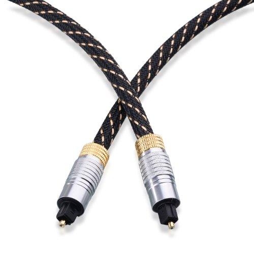CableMatters光デジタルケーブル金メッキ0.9m編組ジャケット高耐久保護キャップ付き光ケーブルオーディオToslinkデジタルオーディオオプティカルケーブル