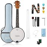 Mulucky 4 String Banjo Ukulele Concert 23 inch With Truss Rod Gig Bag Tuner String Strap Picks - BU8017
