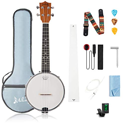 Mulucky 4 String Banjo Ukulele Concert 23 Inch Beginner Kit With Truss Rod Gig Bag Tuner String Strap Picks - BU8017