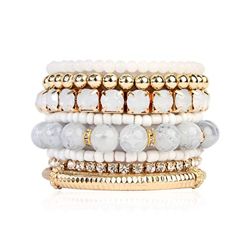 Multi Color Stretch Beaded Stackable Bracelets - Layering Bead Strand Statement Bangles (Original - Natural, 8)