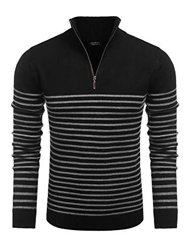 COOFANDY Baumwollpullover Männer Sweatshirt Pullover Rollkragenpullover Streifen Locker und bequem Herbstpullover Schwarz XXL