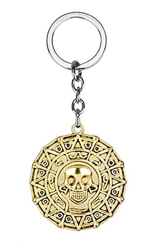 TopschnaeppchenDSH Fluch der Karibik Schlüsselanhänger Azteken Gold (18 K Vergoldet) Pirates of The Caribbean Jack Sparrow Elizabeth Swan