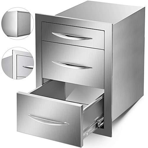 BuoQua Cajón de cocina para exteriores de 17,7 x 20,7 x 21,5 pulgadas de acero inoxidable con mango cromado, cajón de triple acceso, montaje empotrado, astilla de doble acceso