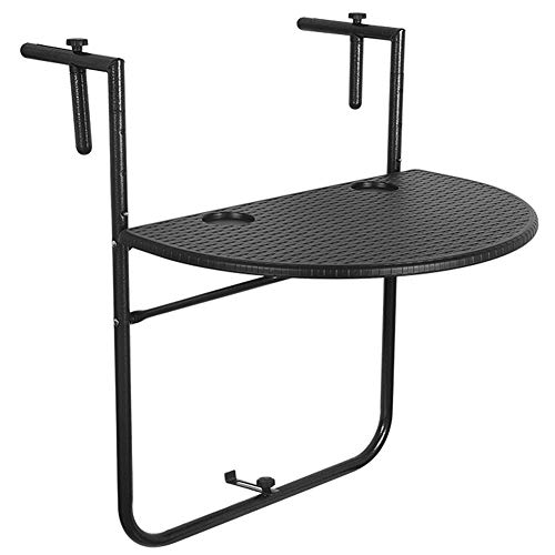 Sundale Outdoor Indoor Folding Hanging Table Adjustable Balcony Railing Table for Patio, Garden, Deck, Black Wicker Finish, 23.6'(L) x 15.6'(W) x 32.7'(H)