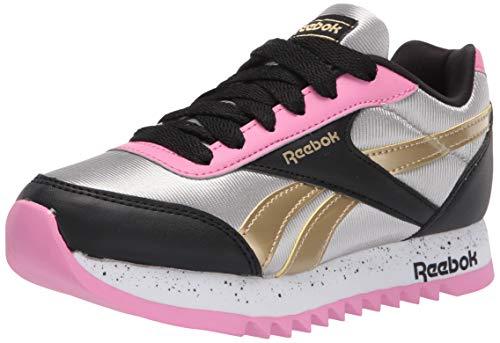 Reebok Girls Royal Cljog 2 Platform Sneaker, Black/Silver Metallic/Polished Pink, 4 M US Little Kid