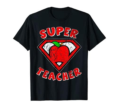 Funny Cute Distressed Super Teacher Superhero Apple Shirt T-Shirt
