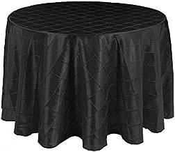 LinenTablecloth Round Pintuck Tablecloth, 108, Black