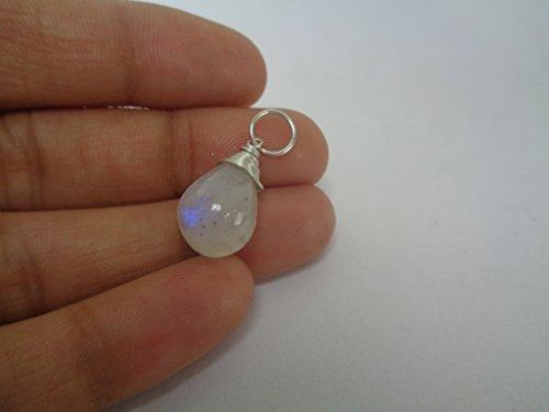 Colgante de 8,54 quilates con forma de lágrima de arco iris y piedra lunar envuelto en alambre, colgante lleno de plata, Diosa Energía