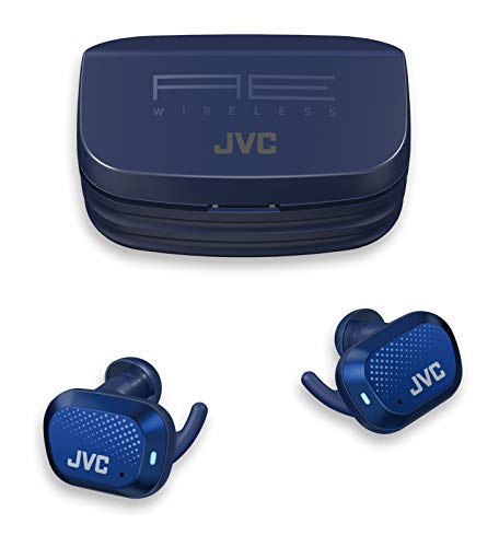 JVC HA-AE5TA AE Sport Truly Wireless Earbuds - in Ear Bluetooth Headphones, 27 Hour Battery Life with Charging Case, Touch & Talk, Touch Sensor Control, Waterproof IP55 (Blue)