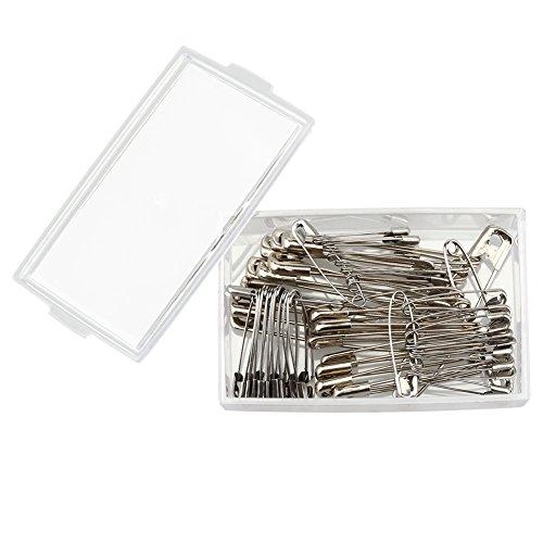 Mr.do® épingles de sûreté 50 pièces en 4 tailles assorties avec boîte Finger Guard Argent en acier carbone