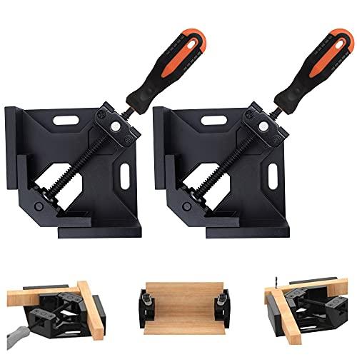 ABOF 2 pcs直角コーナークランプ90度位置決めブラケット 木工バイスマイターカッティングツールセット調整可能なウッドクランプアングルプライヤー す、木工万力工具セット、調整可能なフォトフレーム、ボックス、ドア、キャビネット、引き出し (F-MGBLA)