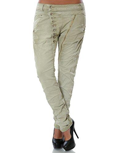 Daleus Damen Boyfriend Jeans Hose Reißverschluss Knopfleiste Stretch DA 14145 Farbe Beige Größe XL / 42