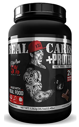 Rich Piana 5% Nutrition Real Carbs + Protein with Real Food Meal Replacement Powder, Complex Carbohydrates, Low Glycemic Recovery, Lean Muscle Mass Gainer, 65.6 oz, 60 Servings (Chocolate)