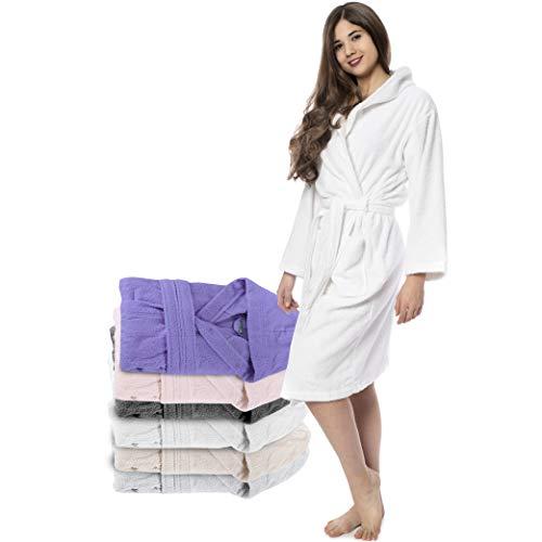 Twinzen Peignoir de Bain Femme - M - Blanc - 100% Coton avec Capuche - Certifié OEKO-TEX® - Robe de Chambre Eponge 2 Poches, Ceinture - Doux, Absorbant et Confort