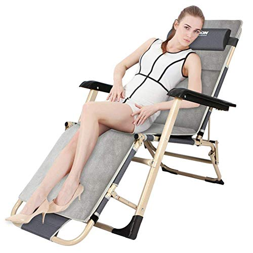 YVX Garden Chair Metal Sun Lounger, Folding Sunbed Sitting and Lying, with Breathable Synthetic Fabric, 3 Position Adjustment 1784722cm, 100 Kg Max c2016 (Size : with Cushion)