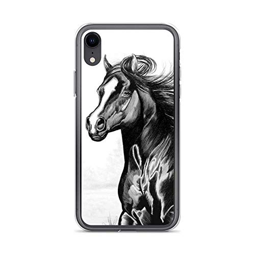Horse Running Black Pencil Draws Wild Animal Horses Lover Cajas del Teléfono iPhone 12/11 Pro MAX 12 Mini SE X/XS MAX XR 8 7 6 6s Plus Funda Cover