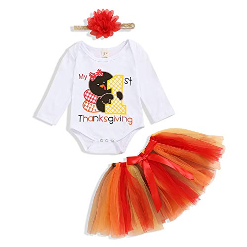 Baby Girl My 1st Thanksgiving Skirt Set Short Sleeve Turkey Romper + Tutu Skirt with Headband Clothes Outfits (Thanksgiving-B, 3-6Months)