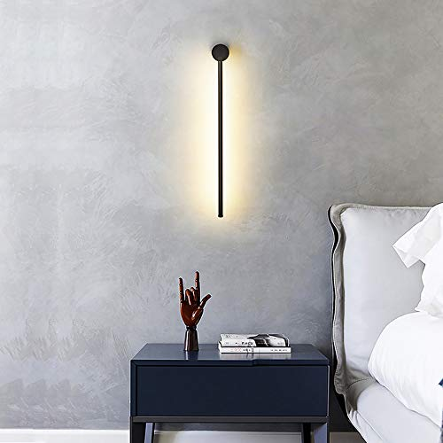 Sunsign iluminación for Pared de tira larga de luz de pared lineal LED moderna, Diseño creativo giratorio Fondo de la sala de estar Dormitorio Cabecera de cama lámpara de pared interior, 60cm-negro