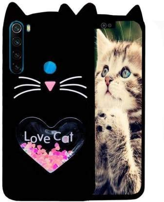Dr2s fashion Retail Cute Cat Hello Kitty with Love Design Back Case Cover for REDMI Note 8 - Black