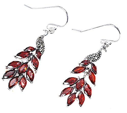 CHXISHOP Pendientes de Moda para Mujeres 925 Plata esterlina Vintage Peacock Pendientes Rojos, adecuados para niñas y Mujeres jóvenes