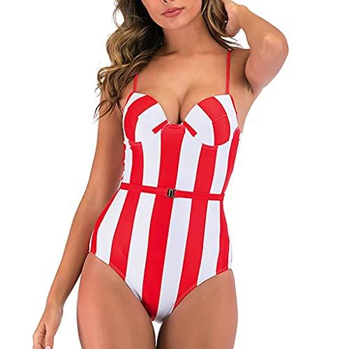 Seksowny Damski Strój Kąpielowy Plus Rozmiar Spodnium Z Nadrukiem Push Up Kobiece Bikini Z Paskiem (Kolor: Czerwony, Rozmiar: Bardzo Duży Kod)