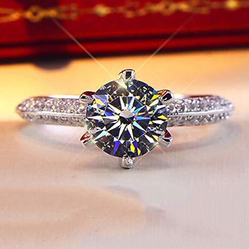 DUANYU Ring Aus 925Er Sterlingsilber,2 Ct Moissanite Ring Für Frauen Geburtstag Party Hochzeit Verlobung Valentinstag Mädchen Geschenk Ring Schmuck, 10.