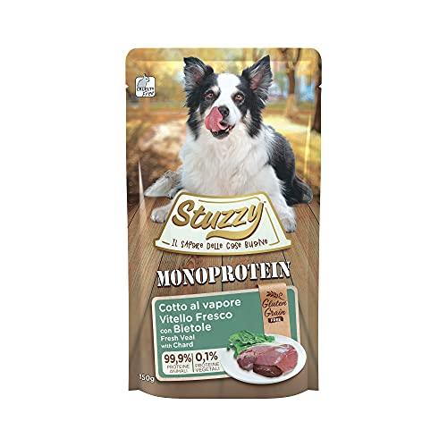 Stuzzy, Monoprotein Grain & Gluten Free, Cibo Umido per Cani Adulti al Gusto Vitello con Bietole Fresco Preparato in Patè - Totale 1,8Kg (12 Buste da 150G)
