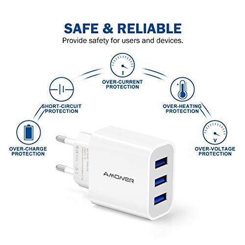 Amoner USB Ladegerät 2 Stücke 3-Port Ladeadapter für Phone X/8/8 Plus, Galaxy S9/S9 Plus/S8/S8 Plus/Note, Pad und Weitere USB-Anschluss Geräte (Weiss)