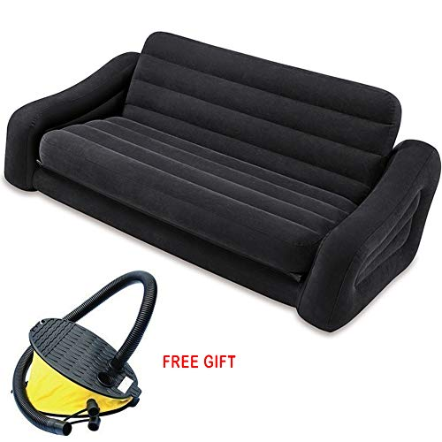 LUOLANG Inflatable Pull-Out Sofa, Queen Bed Mattress Air Sectional Sofa, Best for Indoor Or Outdoor Use, Double Sofa Bed Mattress for Camping Or Guest Bed, 76×87×26 Inch, Black