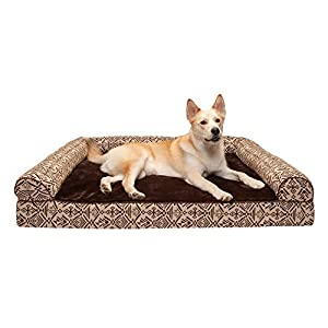 Furhaven Pet Dog Bed – Memory Foam Plush Kilim Southwest Home Decor Traditional Sofa-Style Living Room Couch Pet Bed with Removable Cover for Dogs and Cats, Desert Brown, Jumbo Plus