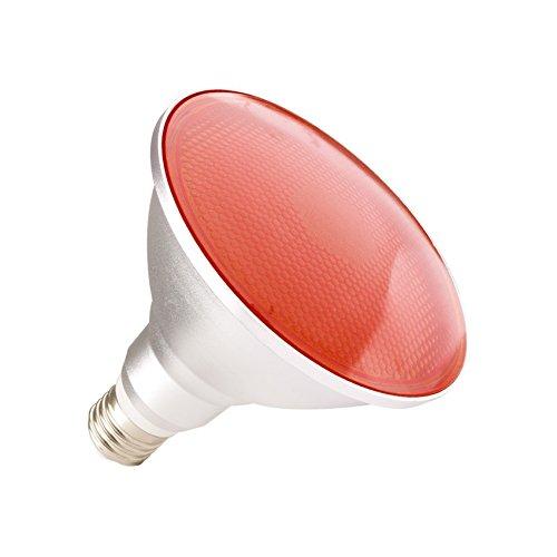 LEDKIA LIGHTING Bombilla LED E27 Casquillo Gordo PAR38 15W Waterproof IP65 Luz Roja Rojo