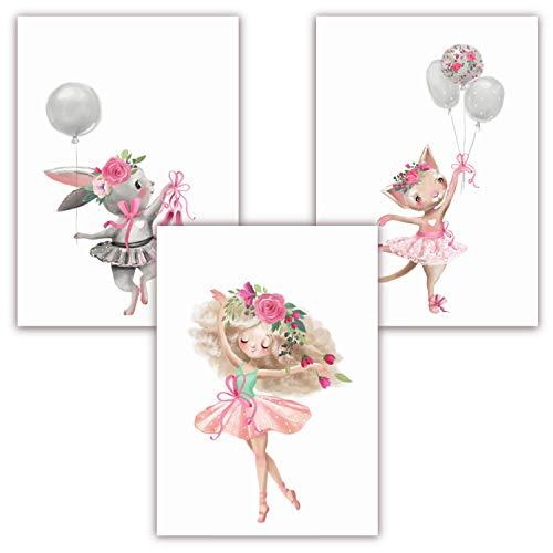 Pandawal Wanddeko Kinderzimmer Bilder für Mädchen rosa schöne Wand Deko für Mädchenzimmer Ballerina mit Luftballon Bild Blumen Baby/Babyzimmer 3er Poster Set (S9) DIN A4