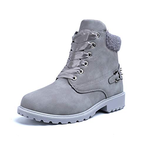 Botines Mujer Bajo Botas Nieve Equitacion Montaña Chelsea Boots Forradas Invierno Zapatos Camperos Senderismo Botin Planas Negro Gris Caqui Rosa EU 36-43