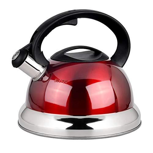 the teapot company Hervidor de té de Acero Inoxidable de Silbato Rojo 3L / Rojo para Estufa, manija ergonómica Resistente al Calor Hogar de la Cocina Tetera de té (Color : Rojo, tamaño : 3L)