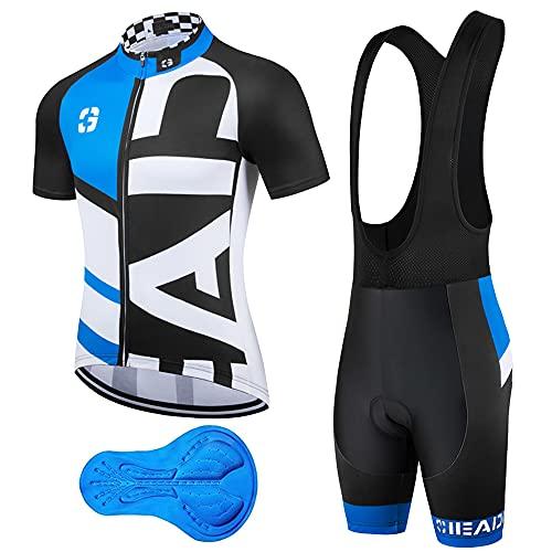 Abbigliamento Ciclismo Uomo Salopette Pantaloncini Camicia da Ciclismo Maniche Corte e Pantaloncini Corti Bicicletta con 3D Gel Imbottiti per MTB Corsa Strada Bici