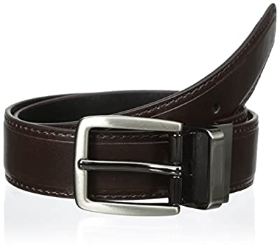 Dockers Boys' 28mm Side Stitched Reversible Boys Belt with Logo Hardware, Brown/Black, Medium