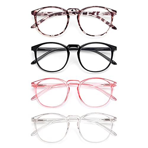 IBOANN 4 Pack Blue Light Blocking Glasses Women Men, Fashion Computer Gaming Eyeglasses, Anti UV Bluelight Round Frames (Light Black + Leopard + Transparent + Pink)