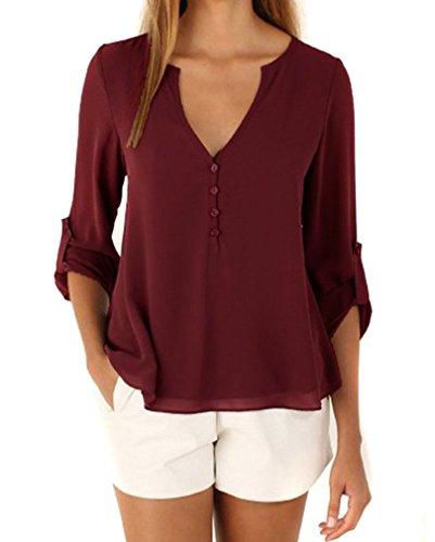 AIYUE Camicia Donna Collo a V Maniche Lunghe in Chiffon Camisetta Bluse Basic Estivo Causal Allentato Colore Solido Top(vino rosso,XL)