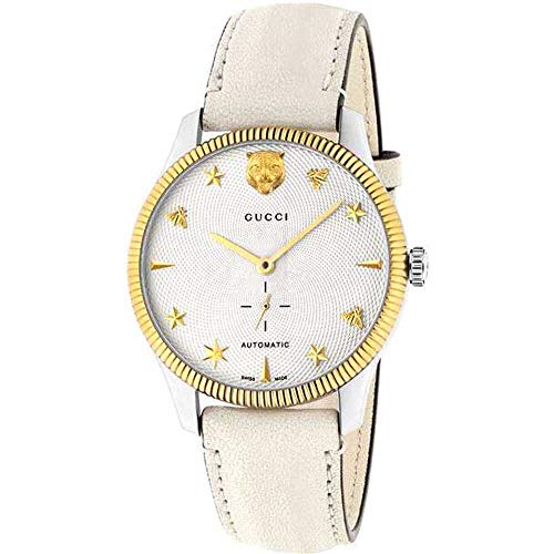 Gucci Unisex horloge AUTOMATIK-GEHUSE roestvrij stalen armband leer BEIGE YA126348