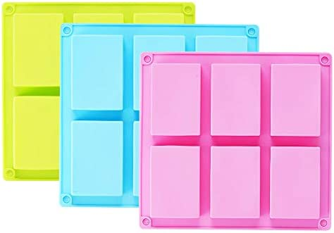 TDHDIKE 3 Pack Silicone Soap Molds Blue Pink Green 6 Cavities Silicone Baking Mold DIY Handmade product image